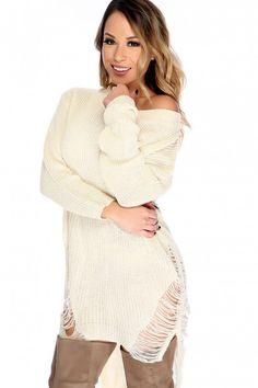 Sexy Beige Semi-Sheer Bateau Neckline Long Sleeve High-Low Hem Distress Detail Sweater Dress