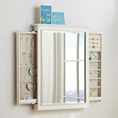 Chelsea Hidden Wall Jewelry Storage from PBteen. Shop more products from PBteen on Wanelo. Space Saving Storage, Hidden Storage, Diy Storage, Storage Spaces, Storage Ideas, Storage Mirror, Outdoor Storage, Wall Storage, Hidden Jewelry Storage