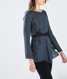 ZARA Studio Silk Ribbon Top Flowy Blouse Shirt 100% SILK Grey Gray NWT Pick Size #ZARA #Blouse