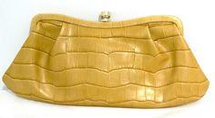 Banana Republic Leather Croc Embossed Clutch Gold tone Snap toggle #bananarepublic #Clutch
