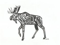 Alaskan Moose Tribal Style in Sharpie Ink by Essence of Ink on Etsy. Sharipie Art, Perfect for a gallery wall.