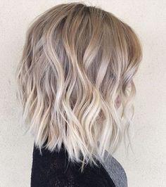 Ombre, Balayage Hairstyles for Medium Hair - Layered, Wavy Lob Hair Cut