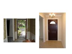 Entry area stuck in the 60's! Area received new paint, trim & tile flooring. Added a traditional style door & chandelier to glam up the space.