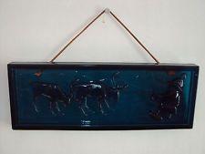 Vintage Retro Scandinavian Elme Glasbruk Glass Wall Tile Suncatcher Mona Frisk