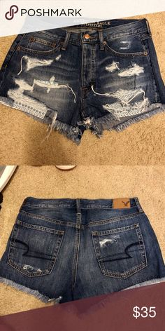 American Eagle High-rise Vintage Shorts These have never been worn! Super cute design pockets that stick out under the shorts! American Eagle Sweater, American Eagle Men, American Eagle Shorts, American Eagle Outfitters Shorts, Denim Shorts Style, Jean Shorts, Sperrys Men, Vintage Shorts, Ladies Dress Design