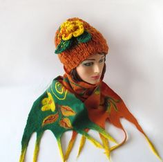 Slouchy Knitted hat and scarf collar Winter  set Orange