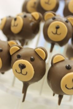 Cake pops at a baby shower #babyshower #teddybearcakepops