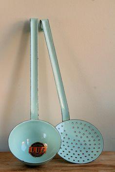 Vintage French Enamel Utensils in Duck Egg Blue - Ladle & Skimmer