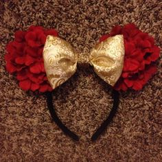 Princess Belle mickey mouse ears by Mousehouseboutique on Etsy. Great idea for redecorating the Mouse ears you already have or for making your own. Saving for our next Disneyland trip.