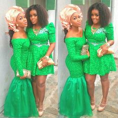 Nigerian wedding green and red ore-iyawo aso-ebi color combination African Dresses For Women, African Wear, African Attire, African Women, African Style, African Outfits, Ghanaian Fashion, Nigerian Fashion, Nigerian Outfits