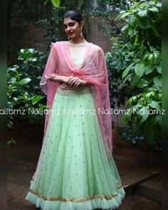 Looks like this Aqua mint green with Peach is stealing our hearts away. Beautiful aqua mint green lehenga and cropt top with blush pink color net dupatta.For details call or whatsapp on 09966661159. 21 September 2017