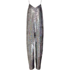 ASHISH Holographic Sequin Jumpsuit ($1,615) ❤ liked on Polyvore featuring jumpsuits, dresses, ashish, jump suit, sequin jump suit, sequin jumpsuit, wide leg jumpsuit and v neck jumpsuit