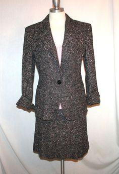 Max Mara Gray Wool Flecked Tweed Skirt Suit  Sz 4 #MaxMara #SkirtSuit