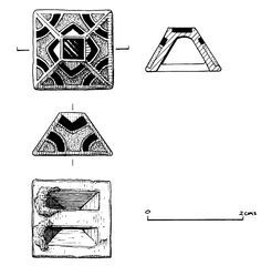 Copper alloy, garnet, ivory and gold sword-fitting: pyramidal mount from sword harness; inlaid on each face with central setting of ivory flanked by cloisonne garnets, set over gold foil. Single garnet fills top cell of truncated pyramid. Pair to Sutton Hoo, Ancient Vikings, Archaeological Finds, Viking Jewelry, Anglo Saxon, British Museum, Gold Foil, Garnet, Sword