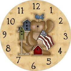 Bear and Flag clock face Clock Face Printable, Clock Flower, Decoupage Printables, Free Printables, Cd Crafts, Shabby, Old Clocks, Vintage Clocks, Clock Art