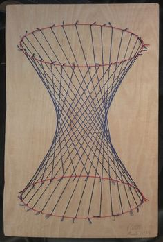 It's a projection of a hyperboloid. String Art Templates, String Art Patterns, Abstract Geometric Art, Geometric Drawing, Visual Art Lessons, Paper Installation, Graph Paper Art, Bubble Art, Resin Crafts