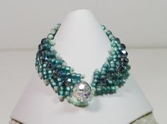 Bracelet Bead Weaving Teal Seed Beads and by joellenflaherty, $18.00