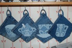 cute denim pot holders