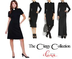 Clergy Dresses that Aren't Frumpy!!  They say they're starting to make these fantastic dresses in neckband, too.  (I'd love to hear from someone who has one--are they as amazing as they look?!)