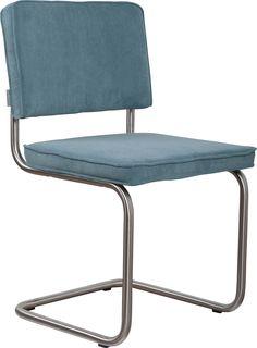 Ridge rib brushed frame blue chair