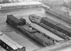The changing face of Liverpool Docks. Pics from Trinity Mirror Archive - Liverpool Echo Liverpool Waterfront, Liverpool Docks, Liverpool History, St Georges Hall, City Backdrop, Tall Ships, Battleship, Aerial View, Great Britain