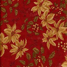 Tela flores beiges sobre fondo rojo