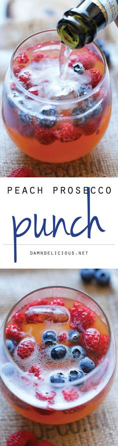 Peach Prosecco Punch - An incredibly refreshing, bubbly party punch made with Prosecco, peach nectar and fresh berries! Summer party drinks, party cocktails, party food, berry recipes.