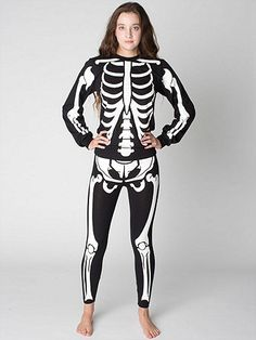 Black leggings featuring a front skeleton print that glows in the dark from hipbones to shins.