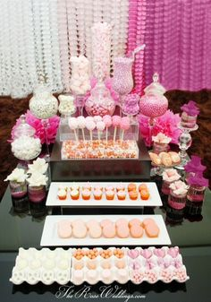BASH Event Planning is a premiere candy buffet, candy table and dessert table service. BASH Event Planning candy buffet in Atlanta Buffet Dessert, Pink Dessert Tables, Pink Table, Food Buffet, Dessert Ideas, Sweet 16 Parties, Pink Parties, Birthday Parties, Birthday Candy