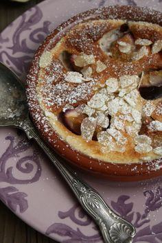 Fresh Fig and Amaretto Clafoutis by Natalie Ward Creative Desserts, Just Desserts, Delicious Desserts, Elegant Desserts, Raw Desserts, Plated Desserts, Fig Recipes, Dessert Recipes, Cooking Recipes