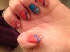 Summer nails #coral #blue #green