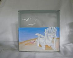 Glass Block-Light-Lamp-Night Light-Adarondak chair on Beach