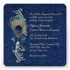Blue Damask and Peacock Feather Wedding Invitation Personalized Announcement