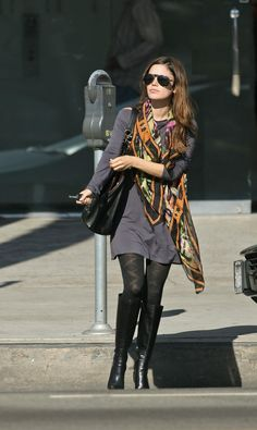 Rachel Bilson long-sleeved grey mini dress, print scarf, patterned nylons, and black leather boots Like the whole look. Would need the dress to be longer to the knee. Rachel Bilson, Look Fashion, Girl Fashion, Womens Fashion, Petite Fashion, Look Chic, Her Style, Autumn Winter Fashion, Celebrity Style