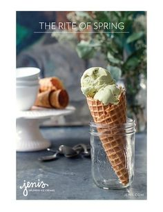 Serve up some pistachio ice cream in a cone for St. Patrick's day — try a small jam jar to hold it upright. Mint chocolate ship would work too. Frozen Desserts, Frozen Treats, Sorbet, Yummy Treats, Sweet Treats, The Rite Of Spring, Sweet Paul, Sweet Sweet, Pistachio Ice Cream