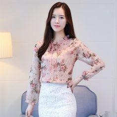 Girls Shirt Blouse Lengthy Sleeve Candy Print Applique Ruffled Neck Female Tops
