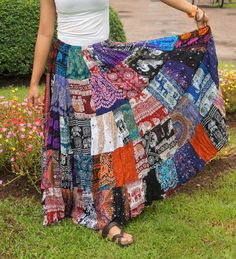 Boho Patchwork Skirt * Long Gypsy Hippie Tiered in Silky Rayon * Maxi Full & Flared * Multicolored Hippie Style Clothing, Hippie Outfits, Gypsy Clothing, Belle Plante, Boho Gypsy, Gypsy Style, Bohemian, Fabric Squares, Hippy