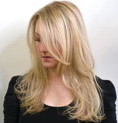 40 Picture-Perfect Hairstyles for Long Thin Hair - Layered Blonde Hairstyle With Long Side Bangs - Long Fine Hair, Long Curly Hair, Curly Hair Styles, Natural Hair Styles, Thin Hair, Layered Side Bangs, Long Side Bangs, Long Hair With Bangs, Hair Bangs