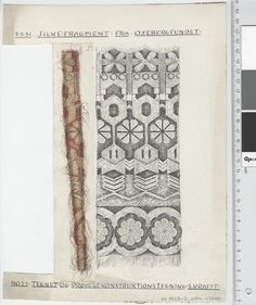 Oseberg Findings from folder 'Oseberg, textiles - silk': Silk Fabric 4, fragment 27. The character of Sofie Krafft: a / ink drawing ('trying construction') and b / watercolor ('character') and cut out. Measure A / B: 22.5 cm, H: 30 cm, b / B: 4.2 cm H, 23.9 cm.