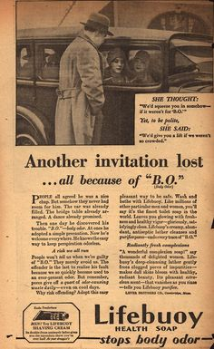 """Lever Brothers Company's Lifebuoy Health Soap – Another invitation lost... all because of """"B.O."""" (1930)"""