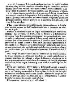 Se trata de una fuente primaria, de carácter jurídico y de contenido militar. Redactado por Francia destinado al gobierno español, en este caso firmado por Manuel Godoy, valido de Carlos IV. Este tratado permitió a las tropas francesas entrar en España para su posterior invasión. Esto desató la Guerra de Independencia que supuso el final para Carlos IV y Godoy. Tuvo como consecuencias el reinado de José I, y el ascenso de Fernando VII la creación de las cortes de Cádiz y la Constitución de…
