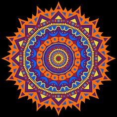 Mandala of orange and blue. Meditation.
