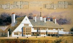 Big Dream Home: House near Guilford, Surrey, by C. Voysey -- for more… Edwardian Architecture, Architecture Drawings, Historical Architecture, Residential Architecture, Architecture Design, London Architecture, Arts And Crafts House, Easy Arts And Crafts, Home Crafts