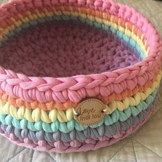 Rainbow Basket - Handmade with thick quality recycled cotton Tshirt Yarn - Rainbow Nursery, Rainbow baby - Crochet Box, Crochet Basket Pattern, Crochet Purses, Crochet Gifts, Crochet Patterns, Crochet Baby Mobiles, Nursery Storage, Modern Crochet, T Shirt Yarn