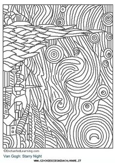 nuit-etoilee-van_gogh Paintings Coloring pages for adults and teenagers free high quality Colouring Pages, Adult Coloring Pages, Coloring Books, Free Coloring, Coloring Sheets, Documents D'art, Starry Night Art, Starry Nights, Art Handouts