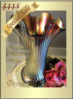 S.A.L.E... Northwood Antique Vase Fine Rib Iridescent Amethyst Marked 'N'