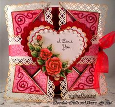 Napkin Fold - Fred She Said Hearts and Roses by Gingerbeary8 - Cards and Paper Crafts at Splitcoaststampers