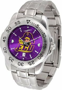 East Carolina Sport Anonized Men's Steel Band Watch by SunTime. $55.83. This handsome, eye-catching watch comes with a stainless steel link bracelet. A date calendar function plus a rotating bezel/timer circles the scratch resistant crystal. Sport the bold, colorful, high quality logo with pride.