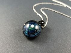 Glass galaxy pendant necklace made with Silver fumed Borosilicate, with a floating opal planet, Starry Glass Pendant with a Floating Opal