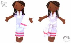 Mita is an handmade softie doll: 16 inch, necklace with the Ethiopian flag, embroidery eyes and typical Ethiopian dress. Pequeña Mita, muñeca etíope.